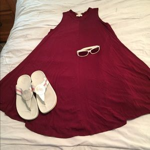 Cute Lightweight Burgundy Summer Dress Top